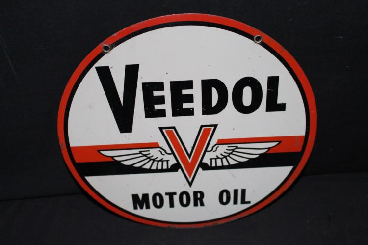 "Veedol Motor Oil 12"" Dia Tin Sign 2 Sided"
