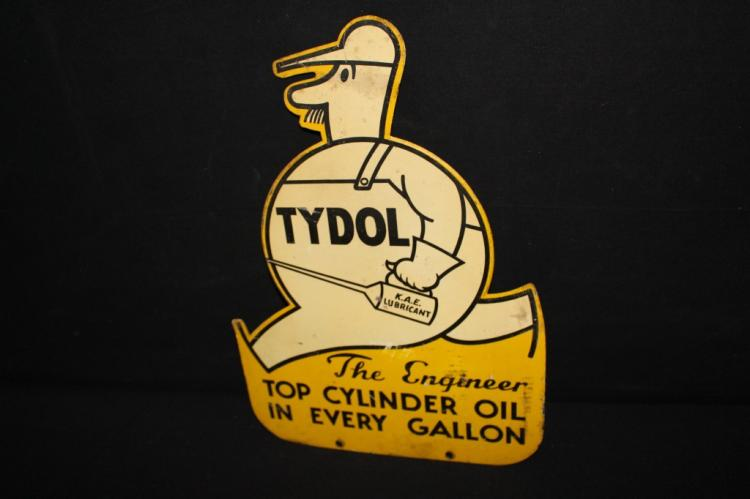 Rare Tydol Engineer Oil Sign Double Sided