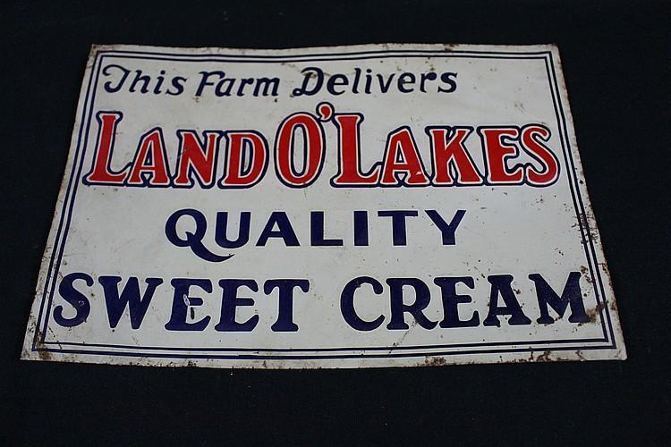 This Farm Delivers Land O Lakes Quality Sweet Cream Tin Farm Sign
