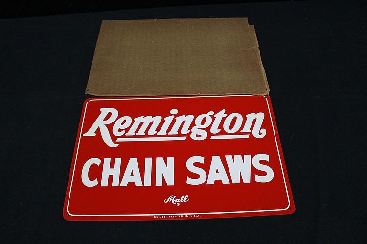 NOS Mall Remington Chainsaws Tin Sign