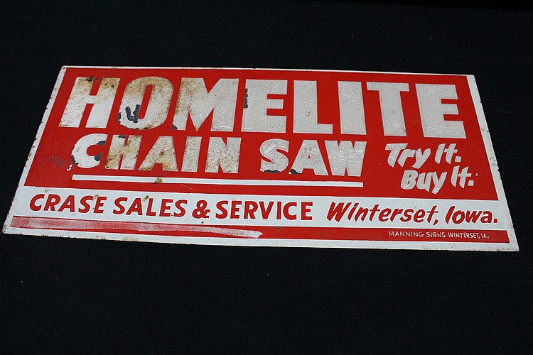 Homelite Chainsaws Sales & Service Sign Winterset Iowa