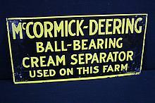 McCormick Deering Ball Bearing Cream Separator Tin Farm Sign