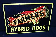 Farmers Hybrid Hogs Iowa Seed Corn Sign Airplane Logo