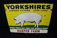 Yorkshires Pig Hog Tin Farm Sign