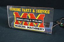 Rare Minneapolis Moline Genuine Parts & Service Lighted Sign