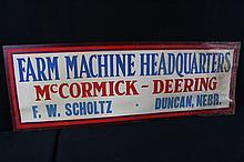 McCormick Deering Farm Machine Headquarters Sign Duncan Nebraska