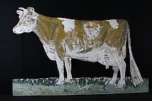Large Painted Tin Guernsey Cow Livestock Sign