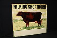 Rare Milking Shorthorn Dairy Cattle Sign Livestock Double Sided