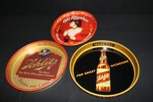 3 Beer Trays 2 1950's Schlitz & A 1970's Old Milwaukee Sign