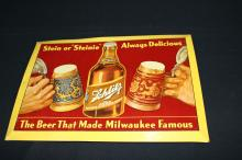Schlitz Steinie Beer TOC Tin Sign Milwaukee WI