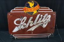 Porcelain Schlitz Beer Neon Sign Double Sided Original Can