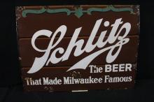 Porcelain Schlitz Milwaukee Beer Sign