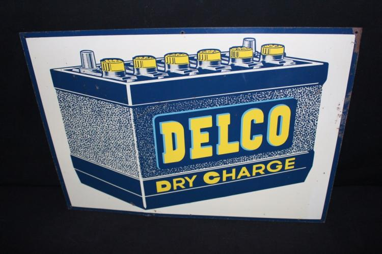 Delco Dry Charge Batteries Battery Tin Sign