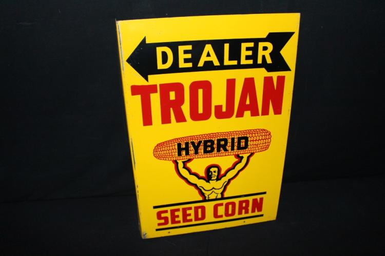 Trojan Hybrid Seed Corn Dealer Flange Farm Sign