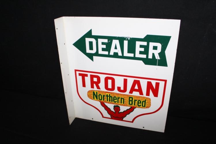 Trojan Northern Bred Seed Corn Farm Flange Sign