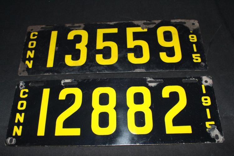 Pair 1915 Porcelain Connecticut License Plates