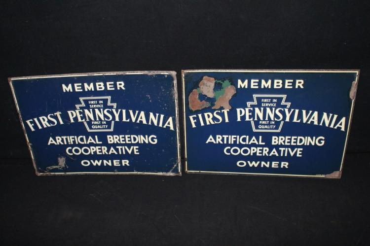 2 First Pennsylvania Breeding Coop Tin Farm Signs