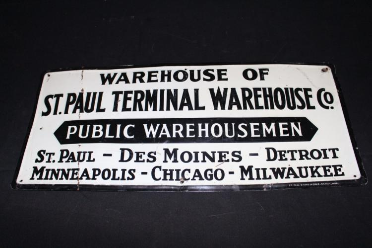 St Paul Terminal Warehouse Railroad Tin Sign