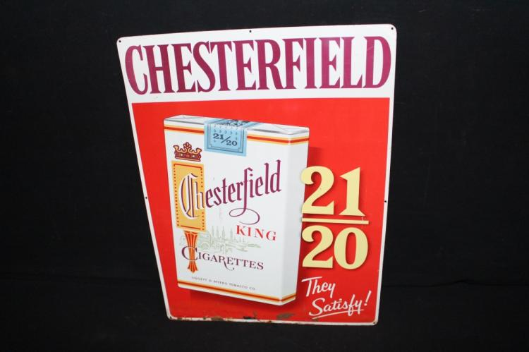 Chesterfield Cigarettes Tin Country Store Sign