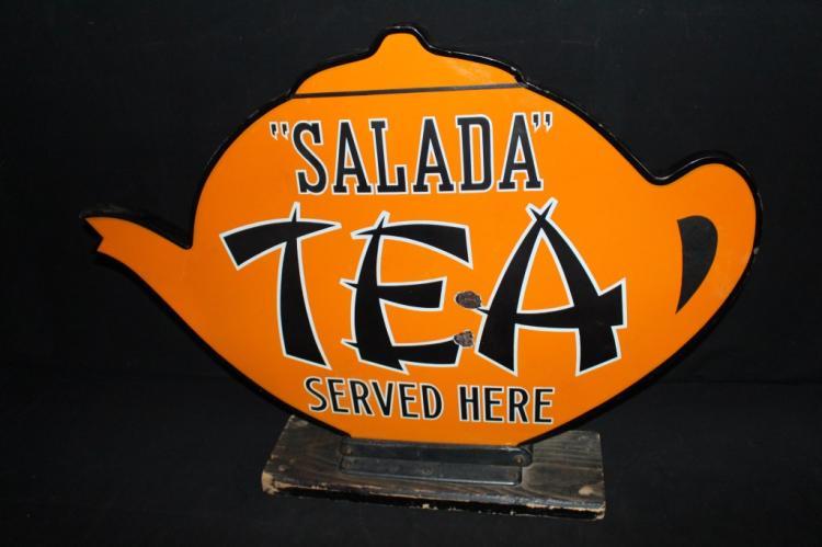 Rare 3-D Porcelain Salada Tea Served Here Sign