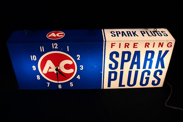 AC Fire Ring Spark Plugs Lighted Clock Sign