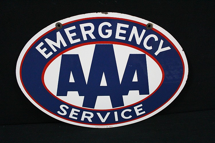Triple A AAA Emergency Service Porcelain Sign