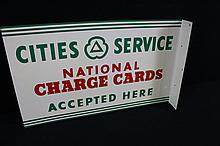 NOS Cities Service Charge Cards Gas Oil CO Flange Sign