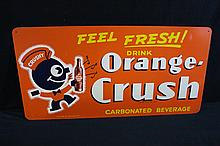 1943 Orange Crush Soda Pop Masonite Sign Crushy Logo