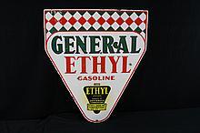 Porcelain Sign General Ethyl Gasoline  Rare Sign !!! Double Sided