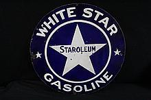 Porcelain Sign White Star Gasoline Staroleum