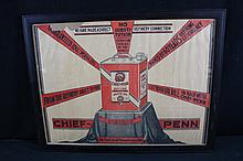 Chief Penn Oil Co Butler PA Oil Can Litho Sign