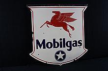 Porcelain Sign White Star Mobilgas Mobiloil Mobil Pegasus
