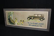The New Oakland All American Six Car Litho Sign Roosevelt FDR
