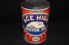 Midwest Oil Co Ace High 5 Quart Can Sign Race Car Airplane