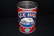Midwest Oil Co Ace High 5 Qt Oil Can Sign Race Car Airplane