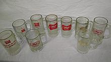 9 VINTAGE MILLER HIGH LIFE BEER GLASS MUGS