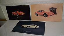 3 1970'S CARDBOARD CORVETTE CHEVROLET DEALERSHIP SIGNS