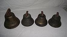 SET OF 4 ANTIQUE 1878 BRASS BELLS