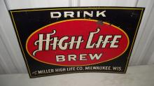 DRINK MILLER HIGH LIFE BREW TIN PROHIBITION BEER SIGN