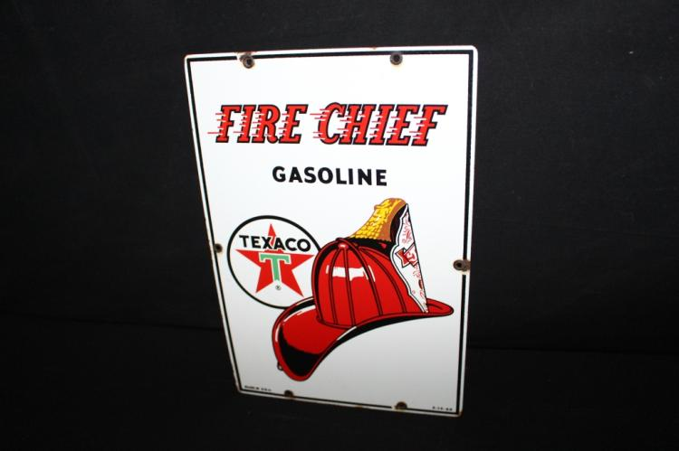 Small Texaco Fire Chief Porcelain Gas Pump Sign