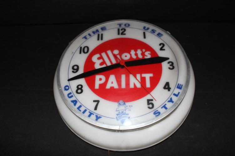 Elliots Quality Style Paints Lighted Clock Sign