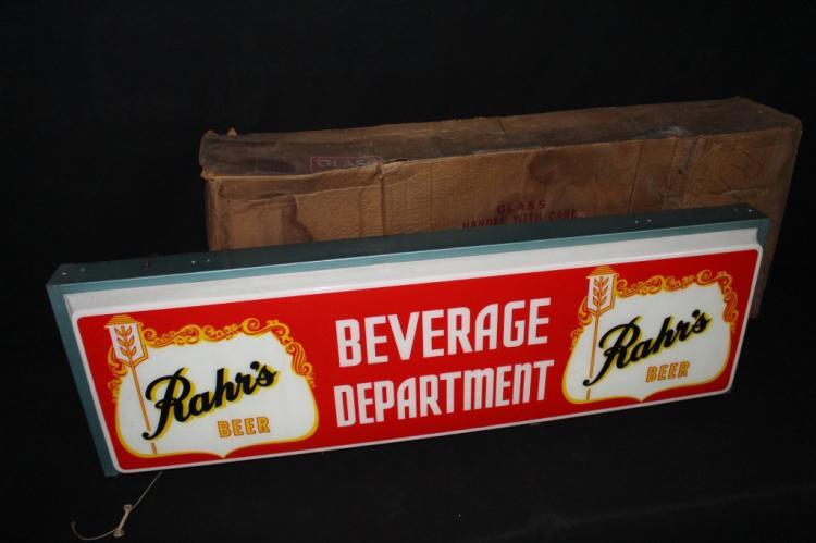 Rahrs Beer Beverage Dept Lighted Sign Original Box