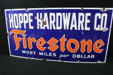 Porcelain Hoppe Hardware Co Firestone Tire Co Sign