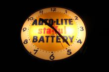 1957 Autolite Sta-Ful Battery Lighted Clock Sign