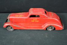 Marx Siren Fire Chief Pressed Steel Wind Up Toy Car