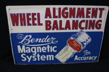 Bender Wheel Alignment Service Station Tin Sign South Gate CA