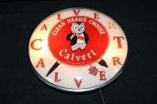 Calvert Whiskey Lighted Clock Sign