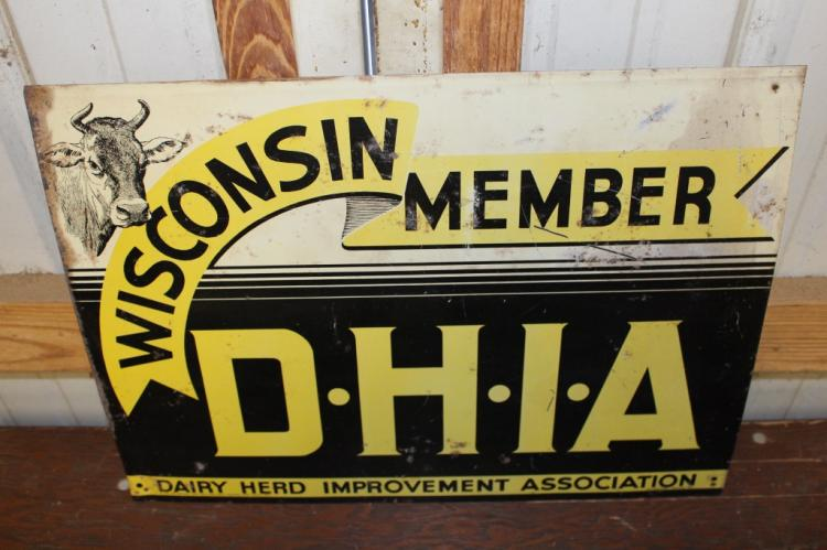 Wisconsin DHIA Dairy Farm Cow Tin Farm Sign