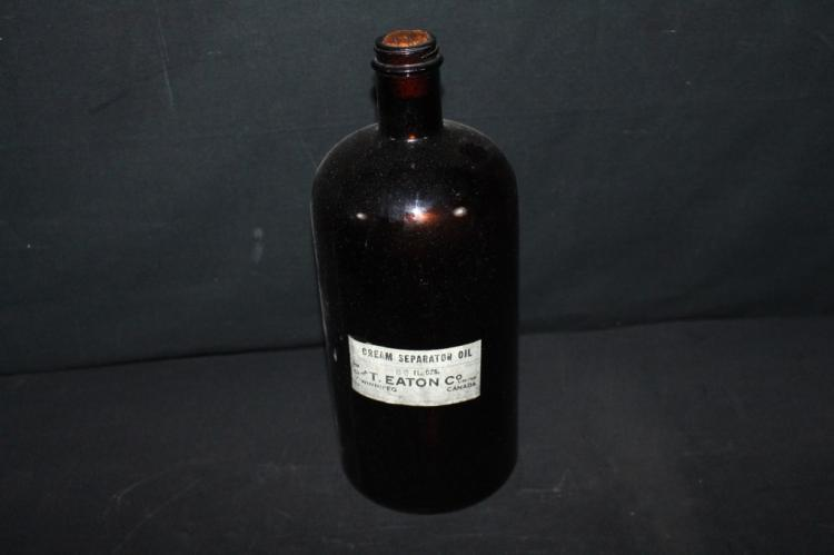 T Eaton WW2 Era Glass Cream Separator Oil Bottle