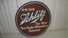EARLY SCHLITZ BEER SPARE TIRE COVER SIGN